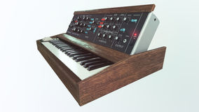 Analog classic synthesizer side view Stock Images