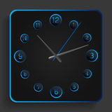 Analog clock with blue neon lights Stock Photography