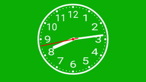 Analog clock with green screen background stock video