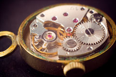 Analog clock metal mechanism close up Royalty Free Stock Photography