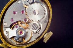 Analog clock metal mechanism close up Stock Photos