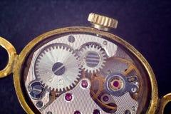 Analog clock metal mechanism close up Royalty Free Stock Photos