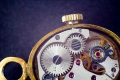 Analog clock metal mechanism close up Stock Photography