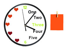 Analog clock and post-it note on white background. Analog clock and orange post-it note on white background royalty free illustration