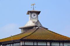 Analog clock tower at Bournemouth Pier stock images