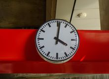 Analog clock at train station royalty free stock photos