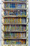 Analog communication technologies. Retro electronic control box with lots of colorful wires Stock Photo