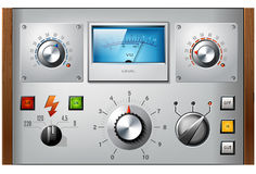 Analog controls interface elements vector set. Analog controls interface elements set, vector, including VU meter, push buttons and switches Stock Photography