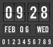 Analog countdown flip timer. Mechanical scoreboard with flip timers and date royalty free illustration