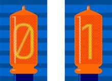 Analog - Digital, lampor, binär kod stock illustrationer