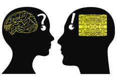 Analog and digital minds. Man and woman may have different ways of cognition and thinking Stock Images