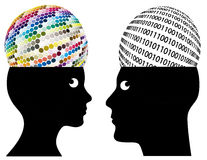 Analog and Digital Thinking. Man and woman may have different ways of cognition and perception Royalty Free Stock Photo