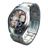 Analog-digitale Armbanduhr für Männer, Wiedergabe 3D stock abbildung
