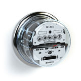 Analog electric meter  on white.  Electricity consumptio Royalty Free Stock Images
