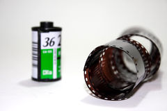Analog film roll with new film Stock Photography