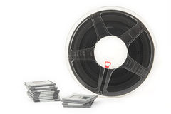 Analog film slides and film reel Royalty Free Stock Images