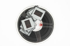Analog film slides and film reel Royalty Free Stock Photo