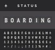 Airport flip board showing flight departure or arrival status boarding . Vector illustration. Analog flip board timetable showing airport flight information of royalty free illustration