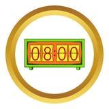 Analog flip clock icon, cartoon style. Analog flip clock icon in golden circle, cartoon style isolated on white background vector illustration
