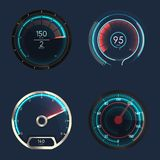 Analog and futuristic speedometer or gauge. Set of isolated speedometers for dashboard. Analog device for measuring speed and futuristic speedometer, technology vector illustration