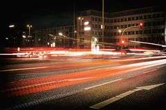 Analog Hamburg Time Exposure Car traffic house builiding royalty free stock photography
