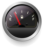 Analog indicator with an arrow. The device is a level or pressure display. Dark disign. Stock Images