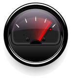 Analog indicator with an arrow. The device is a level or pressure display. Dark disign. Stock Photo