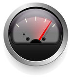 Analog indicator with an arrow. The device is a level or pressure display. Dark disign. Stock Photos
