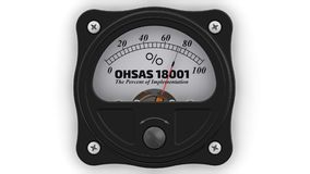 OHSAS - Occupational Health and Safety Management Systems Requirements. The percent of implementation. Analog indicator showing the level implementation of OHSAS royalty free illustration