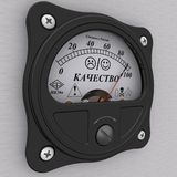 Indicator of quality. Analog indicator showing the level of QUALITY Russian language in percentage close to 100%. 3D Illustration. Isolated stock illustration