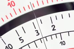 Analog measure tool multimeter scale with pointer. Close up view of multimeter scale with pointer royalty free stock images