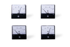 Analog meter. Four analog voltmeter&meter isolated on white background Stock Photos