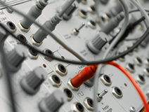 Analog modular synth. Closeup of an analog modulare synthesyzer in a recording studio Stock Photography
