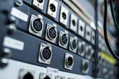 Analog modular synth. Closeup of an analog modulare synthesyzer in a recording studio royalty free stock image