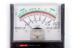 Analog multimeter, that combines several measurement functions in one unit. Vintage model royalty free stock photo