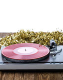 Analog music player with christmas decoration Royalty Free Stock Images