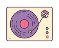 Analog music player, recorder or turntable playing vinyl record isolated on white background. Retro or old-fashioned. Audio device. Bright colored vector vector illustration