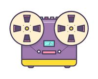 Analog music player, reel-to-reel audio tape recorder with buttons isolated on white background. Retro or old school. Stereo sound device. Colorful vector stock illustration
