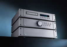 Analog Music Stereo Audio Amplifier and Tuner. Stock Photo