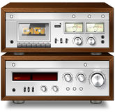 Analog Music Stereo Audio Compact Cassette Deck with Amplifier v Stock Image