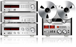 Analog Music Stereo Audio Components Vintage Rack Stock Photography