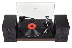 Analog old turntable with loudspeakers Stock Image