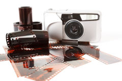Analog photo camera and color negative films Stock Photography