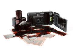 Analog photo camera and color negative films Stock Images