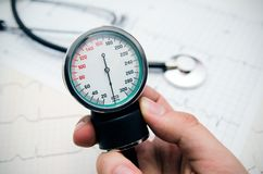 Analog pressure gauge Stock Photo