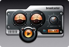 Analog Radio (orange). Realistic Radio broadcasting device with meters and buttons stock illustration