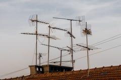 Radio and television antennas stock photos