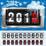 Analog scoreboard flip calendar for new year 2018 on dark background. Coming soon 2018 new year. Congratulatory poster Royalty Free Stock Photography