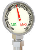 Analog sensor. With scale from MIN to MAX on white background stock illustration