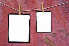 Analog sheet film frames. Large format film frames, against grungy background, empty frames, free picture or copy space Royalty Free Stock Photos
